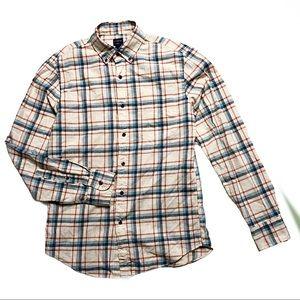 J Crew Mens Dress Shirt Plaid Collared Small